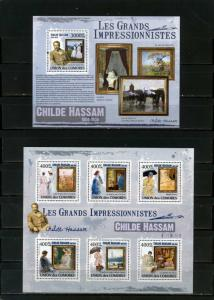 COMORO ISLANDS 2009 PAINTINGS BY CHILDE HASSAM SHEET OF 6 STAMPS & S/S MNH