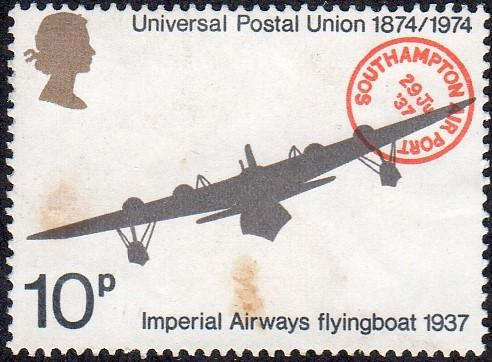 Great Britain 723 - Used - 10p Flying Boat / UPU (1974) (cv $0.60)