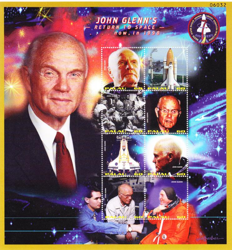 PALAU 1998 RETURN to SPACE / JOHN GLENN 2 M/S + 2 S/S  VF/NH(**)