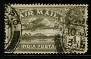 INDIA SG222 1929 4a OLIVE-GREEN USED