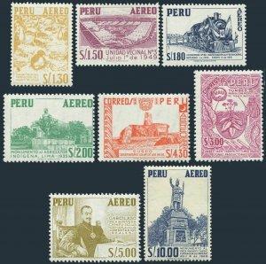 Peru C182-C189,MNH.Mi 623-630. Cormoranr,Housing,Locomotive,Tobacco plant,1962.