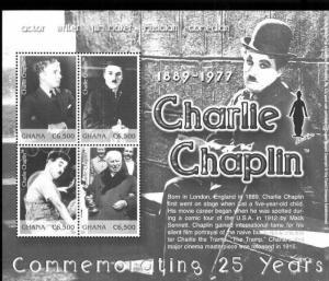 CHARLIE CHAPLIN Commemorating 25 yrs - Souvenir Sheet #2361 MNH - Ghana E32