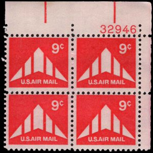 US #C77 9¢ DELTA WING MNH UR PLATE BLOCK #32946 DURLAND $1.00