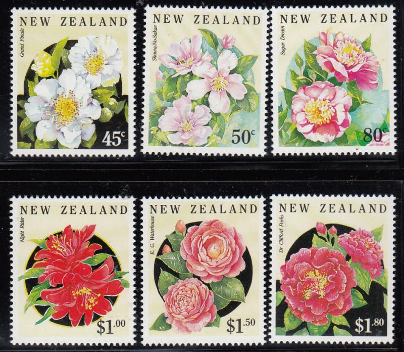 New Zealand 1992 MNH Scott #1110-#1115 Camellias Flowers