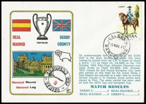 1975 Real Madrid V Derby County European Cup Commemorative First day Cover