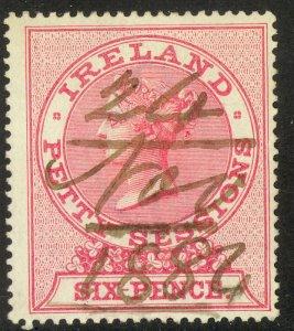 IRELAND 1885 QV 6d Perf. 14 PETTY SESSIONS Revenue BFT. 6 VFU