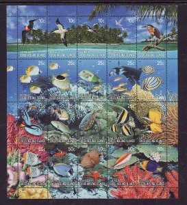 Cocos (Keeling) Is.-Sc#344-unused NH sheet-Wildlife-Marine Life-Birds-Fish-Butte