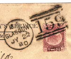 GB HALFPENNY Plate 19 CLEAR PROFILE Cover Glasgow Cat £55+ ½d Red 1880 15.7