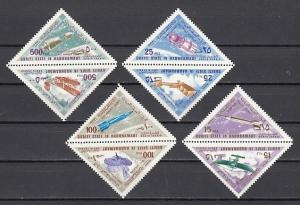 Aden-Quaiti, Mi cat. 214-221 A. Airplanes & Rockets issue. Triangle Stamps. ^