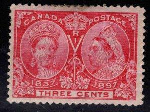 CANADA Scott 53 MH* 3c Jubilee Queen Victoria 1897 CV $30 Hinge Remnants