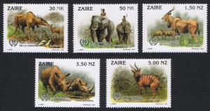 Zaire Wild Animals 5v SG#1412-1416 MI#1079-1083 SC#1403-1407