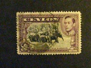Ceylon #286a used perf.14 c203 107