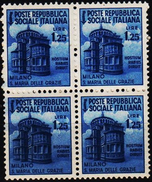Italy(Social Republic). 1944 1L25(Block of 4).S.G.114. Unmounted Mint