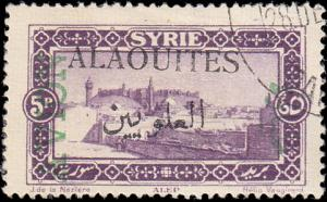 Alaouites Scott C7 View of Aleppo, Green Overprint Used  (CTO)
