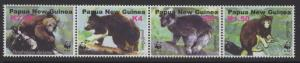 Papua New Guinea MNH Strip 1090 Tree Kangaroos WWF