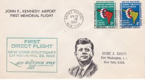 United Nations # 93-94 First Flight Cover from JFK Airport.