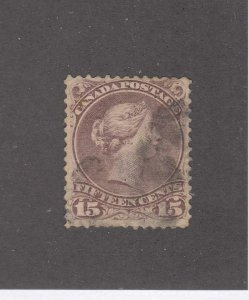 CANADA (KSG876) # 29b  VG-USED 15cts QV /RED LILAC /SMUDGE CANCEL CAT VALUE $50