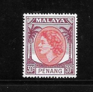 Malaya Penang 1954-55 QE Sc 39 MNH A754