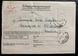 1944 Germany Stalag 9A POW Prisoner of War Letter Cover To Novara Italy