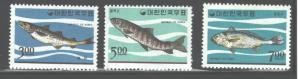 KOREA DPR 1966  FISH  #496 - 498  MNH