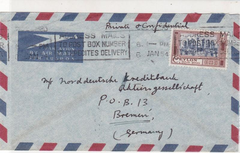 Ceylon 1954 Indian Overseas Bank Ltd Airmail Slogan Cancel Stamps Cover Ref25334