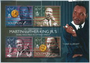 1393 - SOLOMON ISLANDS - ERROR, 2013 MISSPERF SHEET: Martin Luther King, Nobel p