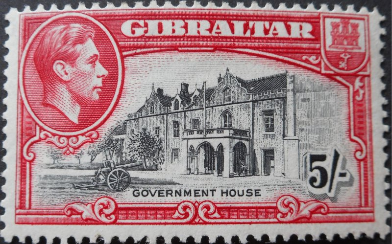 Gibraltar 1944 5/- p13 SG 129b mint