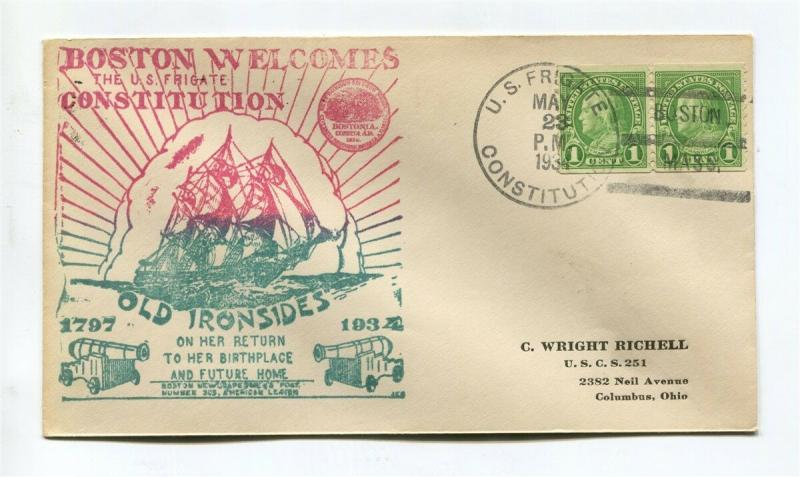 USS Constitution Old Ironsides - BOSTON SHIP Cachet -  May 23 1934
