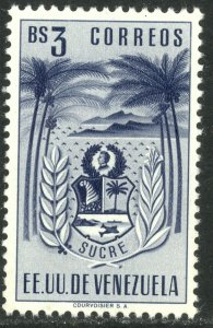 VENEZUELA 1952 3b ARMS OF SUCRE Issue Sc 540 MNH