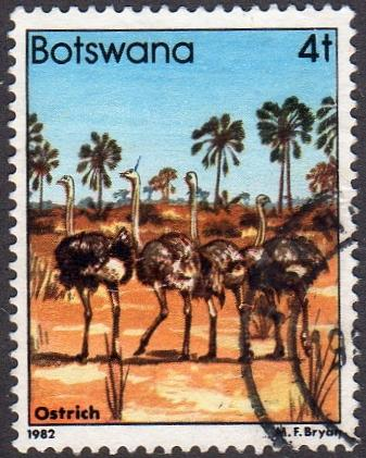 Botswana 306 - Used - 4t Ostriches (1982) (cv $ 2.30) (2)