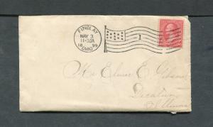 Postal History - Findlay OH 1899 Black American Flag AMF-B14 Cancel Cover B0559