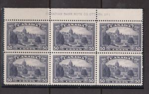 Canada #226 VF/NH Plate #1 Top Block Of Six