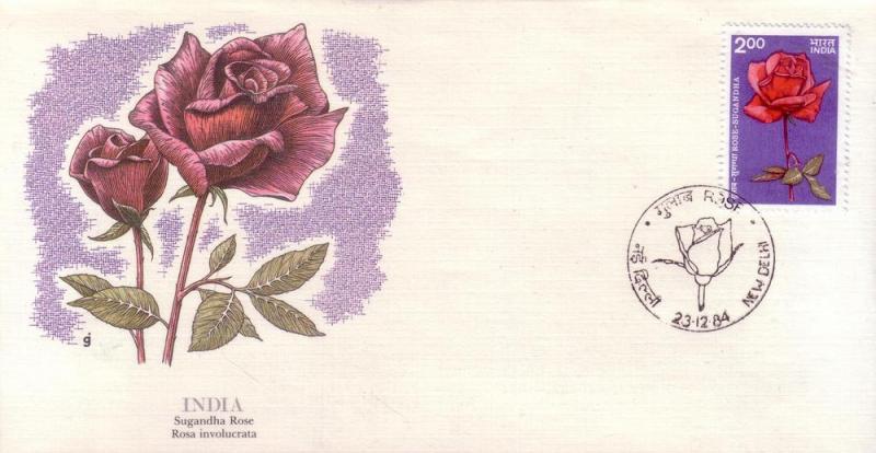 India FDC SC# 1074 Sugandha Rose L45