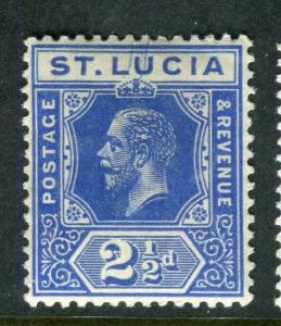 ST.LUCIA; 1912 early GV issue fine Mint hinged Shade of 2.5d. value