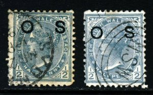 NEW SOUTH WALES AUSTRALIA QV 1892 ½d. Grey Overprinted OS SG O58a & SG O58b VFU
