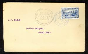 COSTA RICA 1925 FFC to US CANAL ZONE Sp Cancel 1924 20c PARIS OLYMPICS B4 COVER