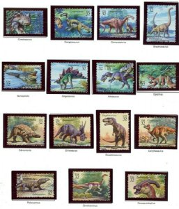 #3136a-o World of Dinosaurs set of 15 MNH Singles