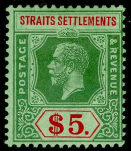 MALAYSIA - Straits Settlements SG212d, $5 green & red/green, VLH MINT. Cat £130.