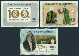 Turkey 1781-1783, MNH. Mi 2104-2106. Galatasaray High School,100, 1968. Ataturk.