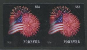 #4868b FOREVER FLAG ISSUE 2014 IMPERF PAIR MAJOR ERROR BU5837 JN