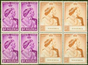 Nigeria 1948 RSW set of 2 SG62-63 in V.F MNH Blocks of 4