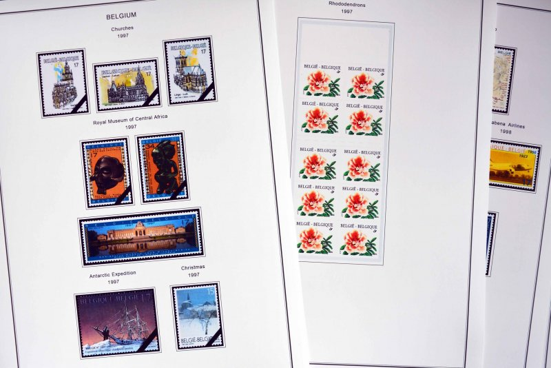 COLOR PRINTED BELGIUM 1976-1999 STAMP ALBUM PAGES (94 illustrated pages)