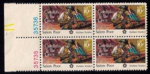 US Sc #1560 Gallant Soldier Salem Poor 10c MNH,OG PL # block of four Very Fine
