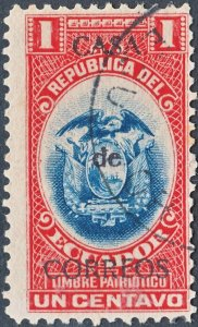 Ecuador 1920 1c Blue & Red (No Date) Obligatory Tax VFU
