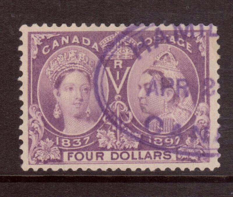 Canada #64 Very Fine Used With Ideal Hamilton Oval Date Cancel In Purple