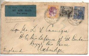 Perak 1934 airmail cover to Sq. Ldr. Carnegie Uxbridge from Ipoh