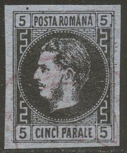 ROMANIA #30 Used - 1866 30pa Black on Dk Blue