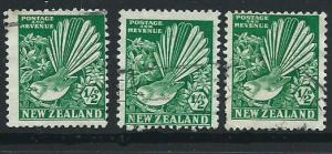 New Zealand SG 577 3 copies 3 different print positions