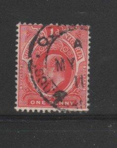SOUTHERN NIGERIA #44  1910  1p  KING EDWARD VII       F-VF USED  b