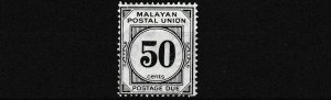 MALAYAN  POSTAL UNION  1938   S G D6  50C  BLACK    MH